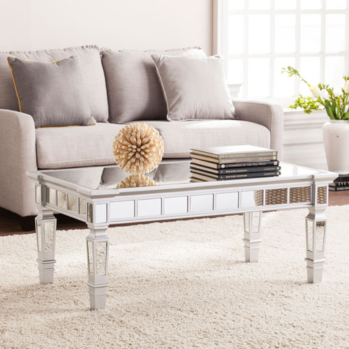 Southern Enterprises Glenview Glam Mirrored Rectangular Cocktail Table