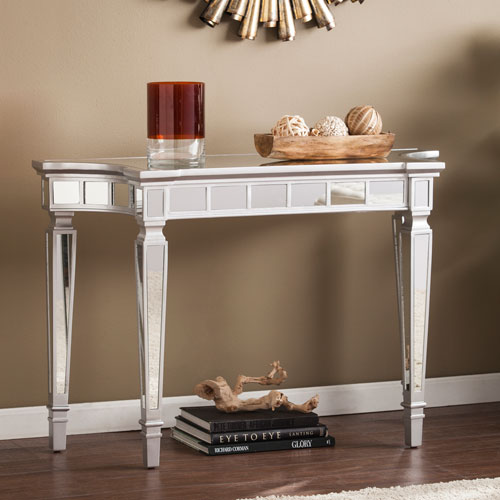 Southern Enterprises Glenview Glam Matte Silver Mirrored Console Table