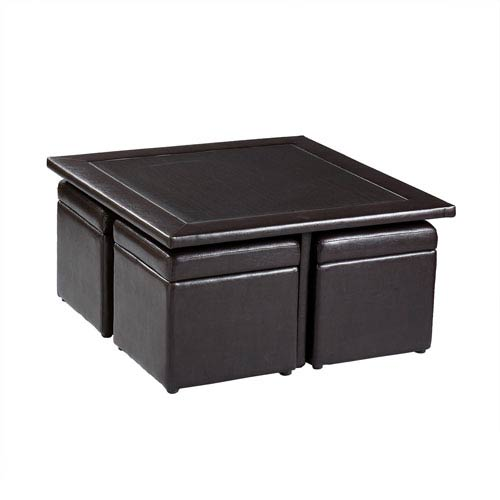 Incroyable Southern Enterprises Chocolate Nylo Storage Cube Table Set