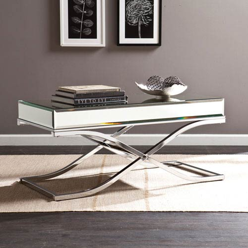 Southern Enterprises Ava Chrome Mirrored Cocktail Table