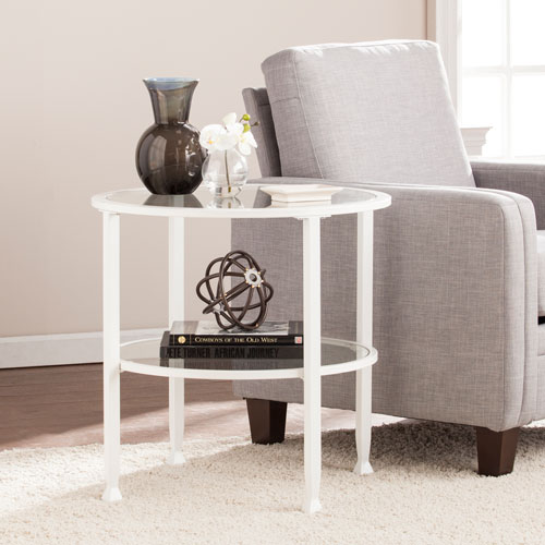 White Jaymes Metal and Glass Round End Table