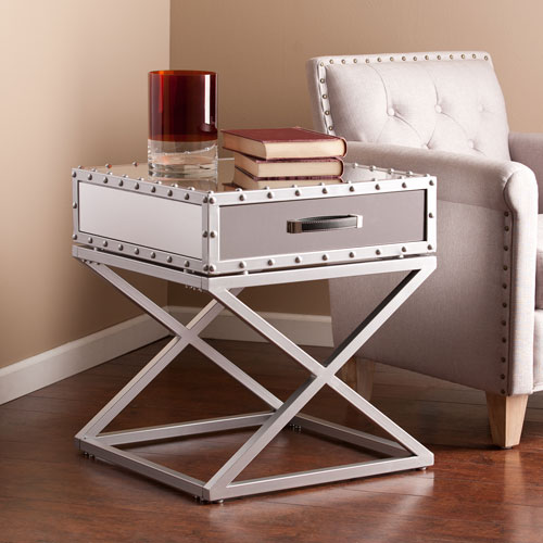 Lazio Industrial Mirrored End Table