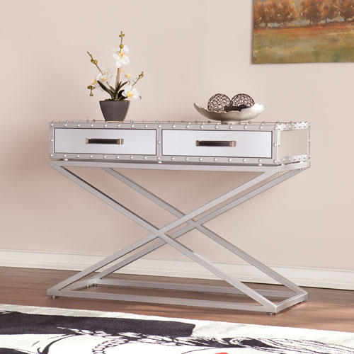 Southern Enterprises Lazio Industrial Mirrored Console Table