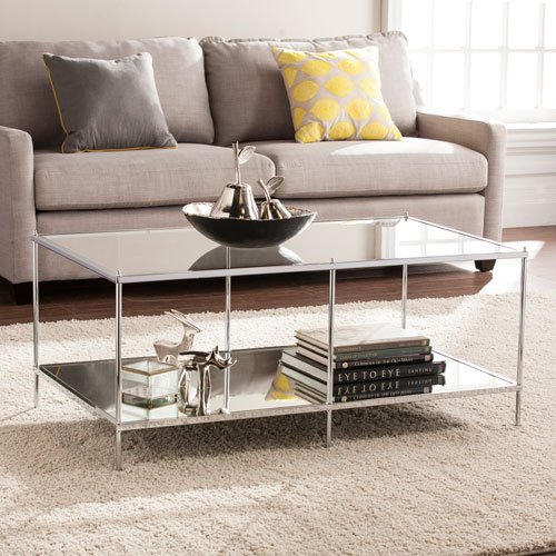 Southern Enterprises Knox Glam Chrome Mirrored Cocktail Table