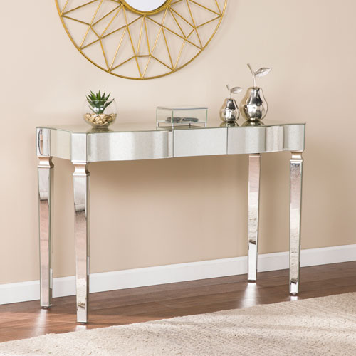 Southern Enterprises Roubaix Mirrored Console Table   Glam Style