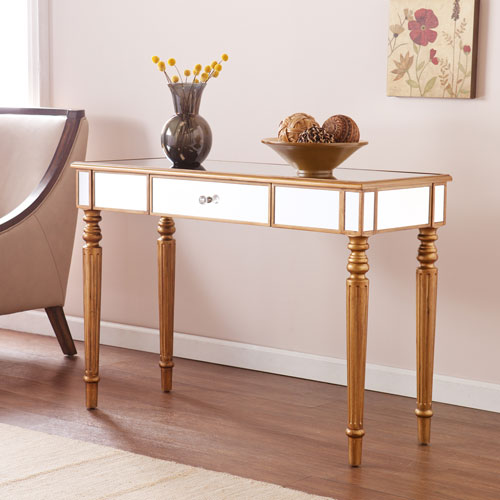 Southern Enterprises Brandilyn Champagne Gold Mirrored Console Table