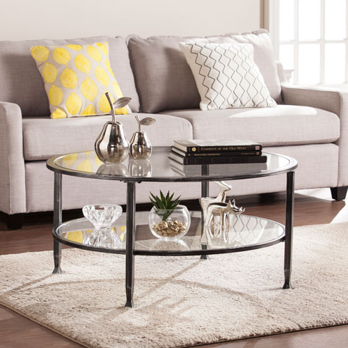 Southern Enterprises Jaymes Black Metal And Glass Round Cocktail Table
