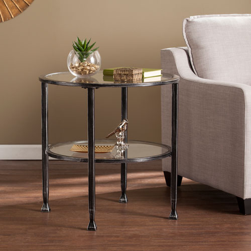 Jaymes Black Metal and Glass Round End Table