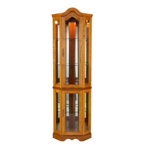 Oak Lighted Corner Curio Cabinet