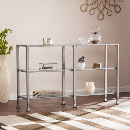 Southern Enterprises Jaymes Silver Metal and Glass 3-Tier Console Table