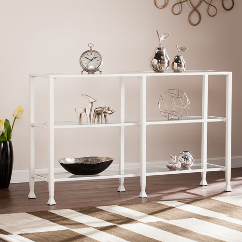 Southern Enterprises Jaymes White Metal and Glass 3-Tier Console Table
