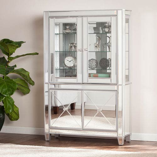 Charmant Mirage Mirrored Lighted Curio Cabinet