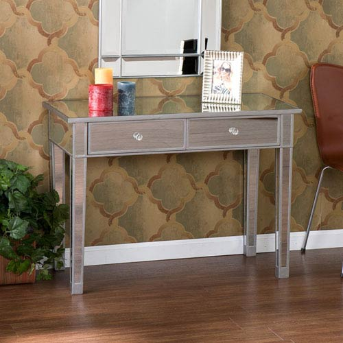 Silver 2 Drawer Mirage Mirrored Console Table