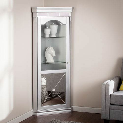Mirage Mirrored Lighted Corner Curio Cabinet