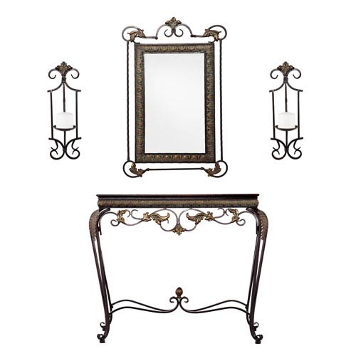 Capshaw Bronze Accented Console/Mirror/Sconce Pair 4-Piece Set