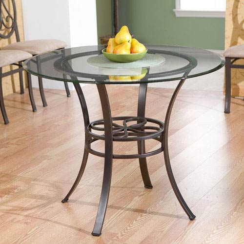 Lucianna Brown Dining Table with Glass Top