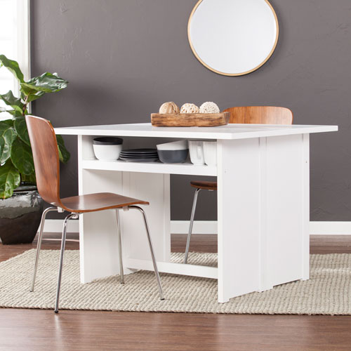 Southern Enterprises Kempsey Convertible Console To Dining Table White