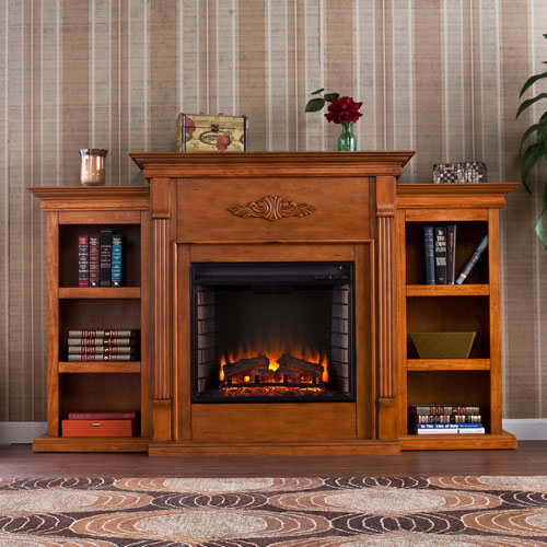 Tennyson Pine Electric Fireplace with Bookcases