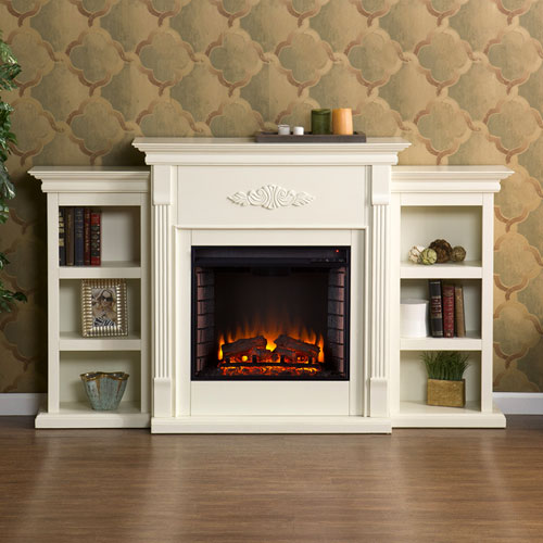 Tennyson Ivory Electric Fireplace with Bookcases