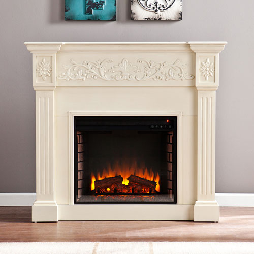 Ivory Calvert Carved Electric Fireplace