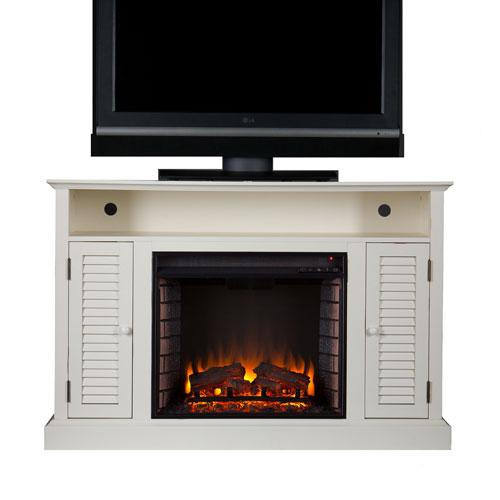Antebellum White Media Electric Fireplace