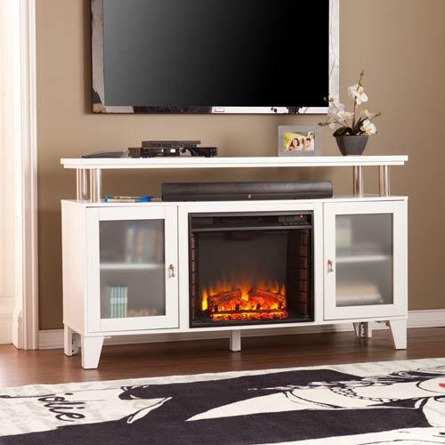 Cabrini Media Electric Fireplace - White