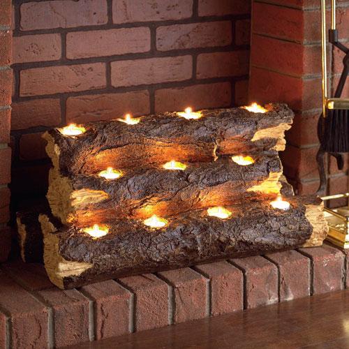 Multicolor Resin Tealight Fireplace Log