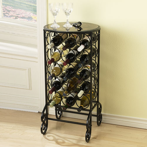 Black Glass Top Wine Table
