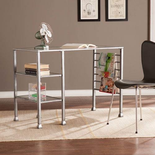 Southern Enterprises Metal/Glass Writing Desk - Distressed Silver