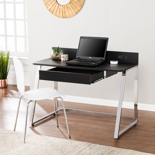Southern Enterprises Telford Desk with USB- Black with Chrome