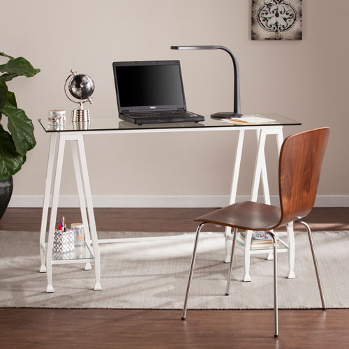 Southern Enterprises Jaymes White Metal and Glass A-Frame Writing Desk