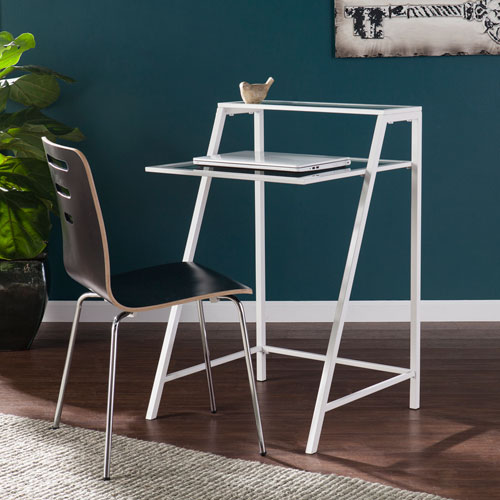 Liam Metal and Glass Laptop Desk - White