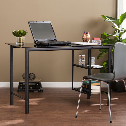 Oslo Black with Smoky Glass Contemporary Desk
