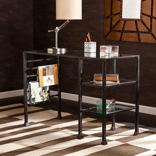 Southern Enterprises Black Glass Writing Desk