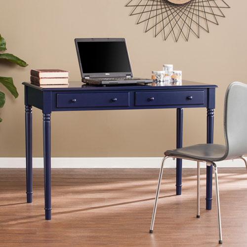 Southern Enterprises Janice Farmhouse Navy 2-Drawer Writing Desk