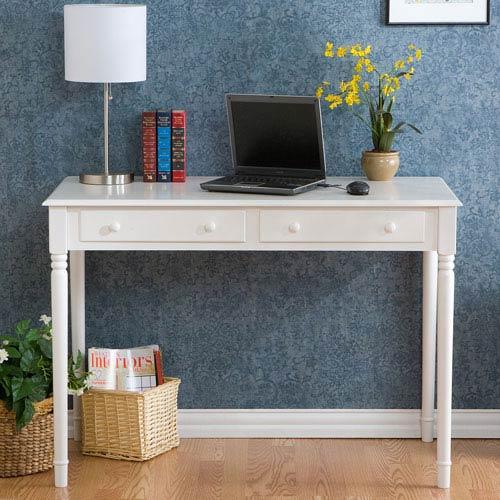 White 2 Drawer Writing Desk