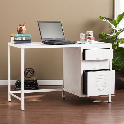Southern Enterprises Radcliff Distressed White Wood And Metal File Desk