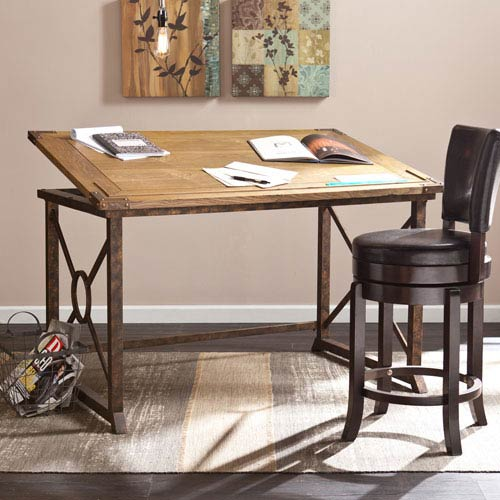 Weathered Oak Knightley Tilt-Top Drafting Table