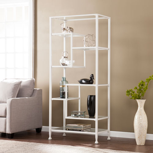 Jaymes White Metal and Glass Asymmetrical Etagere