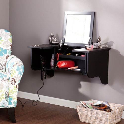 Black Wall Mount Ledge with Vanity Mirror