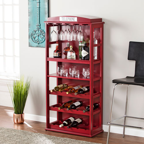 Southern Enterprises Phone Booth Bar Cabinet With Wine Storage Rich Burgundy Red