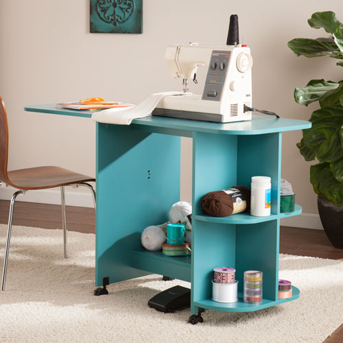 Southern Enterprises Expandable Turquoise Rolling Sewing Table