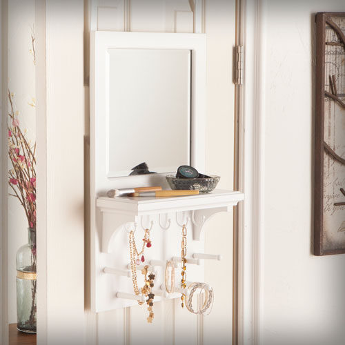 Southern Enterprises Tessa Over-the Door Jewelry Mirror/Anywhere Storage