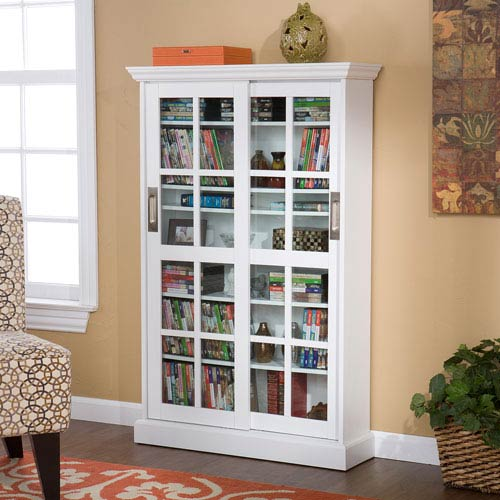Southern Enterprises Sliding Door Media Cabinet White Ms1072t Bellacor