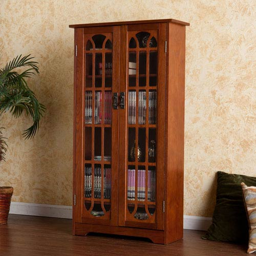 Oak Window Pane Media Cabinet