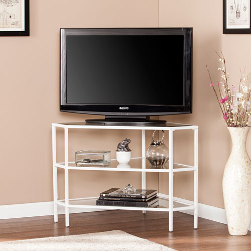 niles metal and glass corner tv stand white - Corner Flat Panel Tv Stands