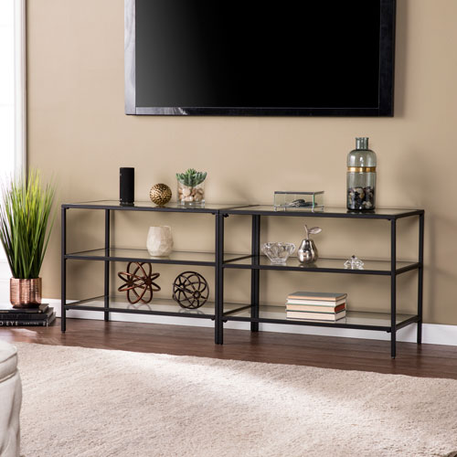 Southern Enterprises Bryler Metal And Glass 60 Inch Tv Stand Matte