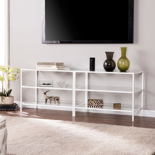 Bryler Metal and Glass 60-Inch TV Stand - White