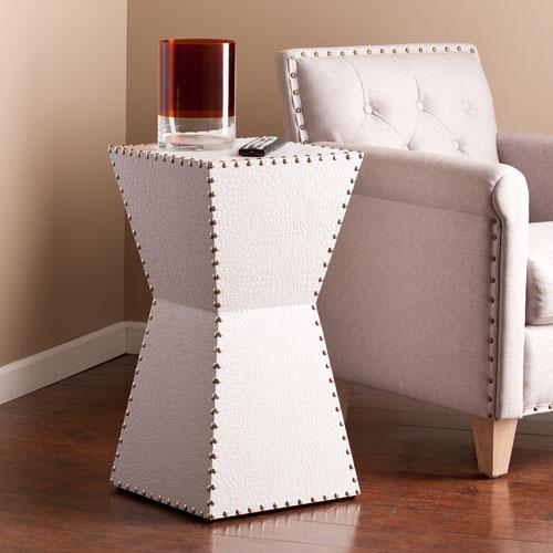 Warrington White Faux Leather Accent Table