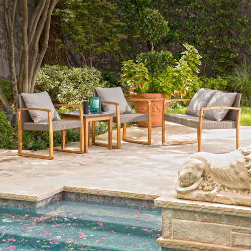 Kelanton 4 piece Wicker Outdoor Conversation Set with Mosaic Stone